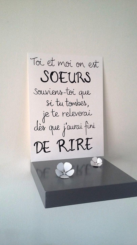 """Bien-aimé affiche citation """" toi et moi on est soeurs """" : Affiches  HV33"""