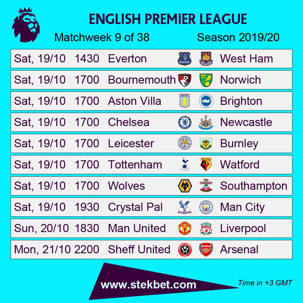 English Premier League Fixtures - Matchweek 9/38 | English premier league, Premier  league, Premier league fixtures