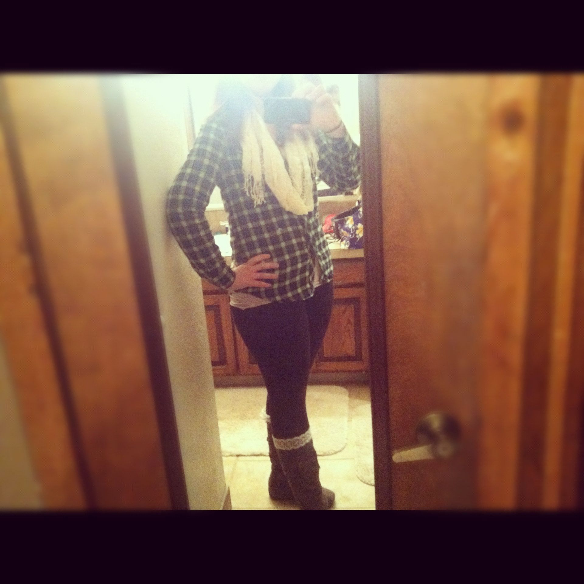 Flannel, leggings, scarf and boots!