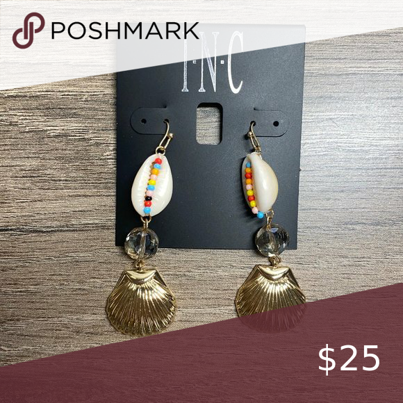 INC Gold Tone Bead Shell Triple Drop Hook Earrings