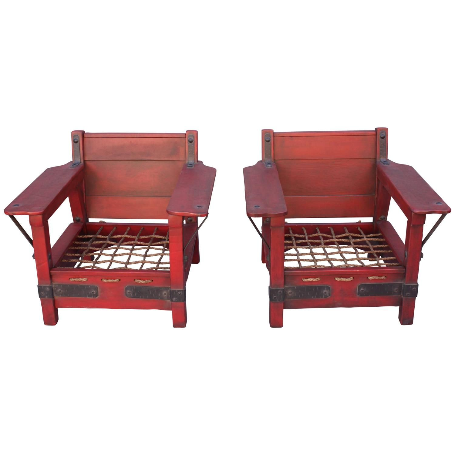 Pair of Rare Red Classic Monterey Furniture Club Chairs