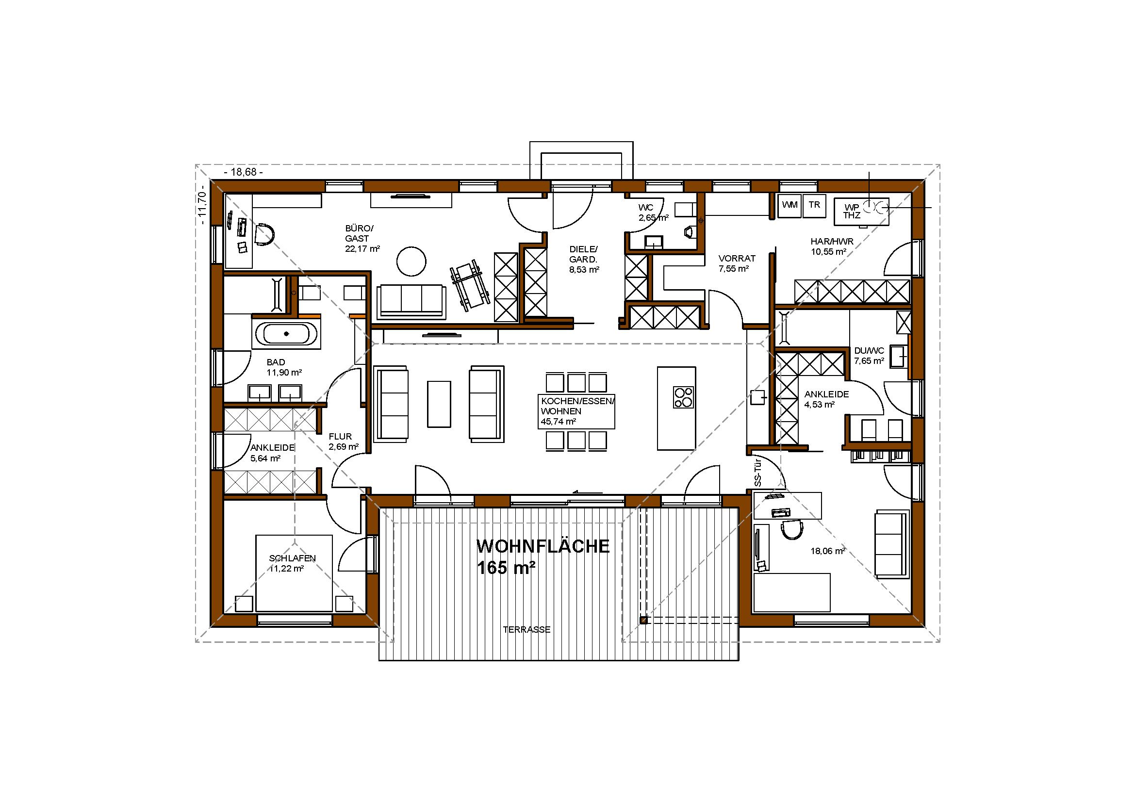 bungalow 165 m wohnfl che individuelle planung f r 3 personen von dieter pfleger. Black Bedroom Furniture Sets. Home Design Ideas