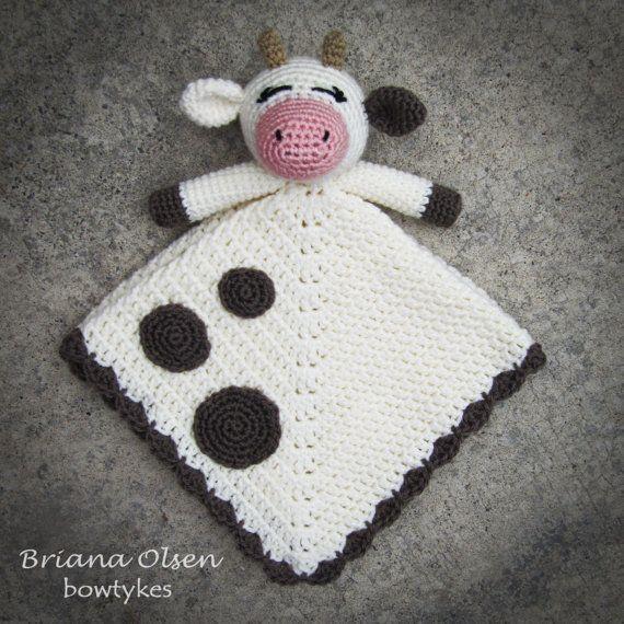Cow Lovey CROCHET PATTERN instant download - blankey, blankie ...