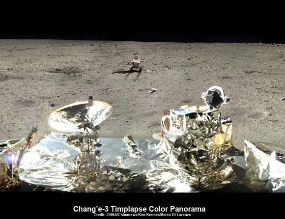 This view shows the Yutu rover heading south from the Chang'e-3 landing site about a week after the Dec. 14, 2013 touchdown at Mare Imbrium. This cropped view was taken from the 360-degree panorama. The extreme ultraviolet camera is at right. Credit: CNSA/Chinanews/Ken Kremer/Marco Di Lorenzo – kenkremer.com
