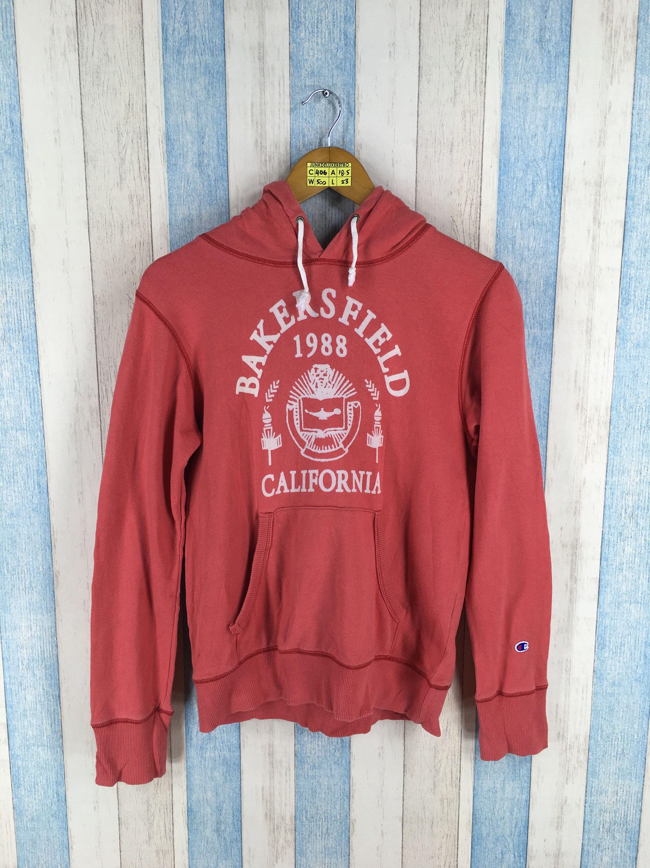 90s Red Hoodie Champion Bakersfield Small Sweatshirt Ladies Vintage OPuZikXT