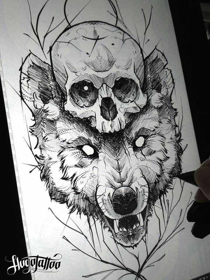 Pin by mair morton jones on tattoo ideas pinterest for Calavera lobo