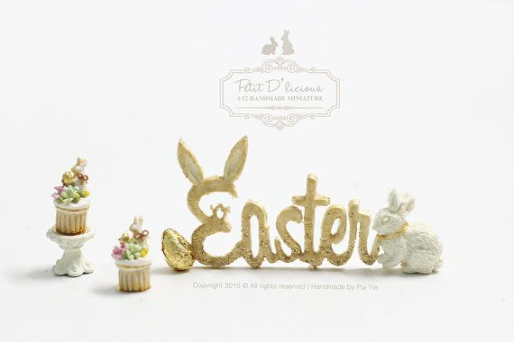 "Dollhouse Miniature Decor-  Glitter ""Easter"" Bunny Egg Decoration Sign/ Freestanding"