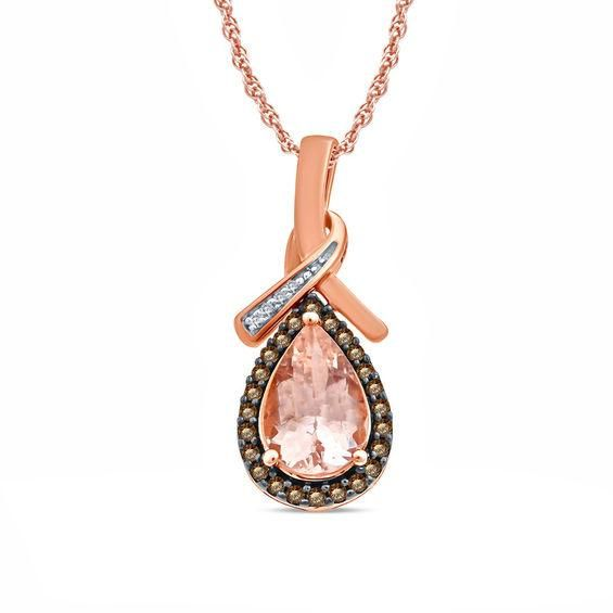 Zales 1/5 CT. T.w. Champagne and White Diamond Infinity Pendant in 10K Rose Gold with Black Rhodium mfjnaz