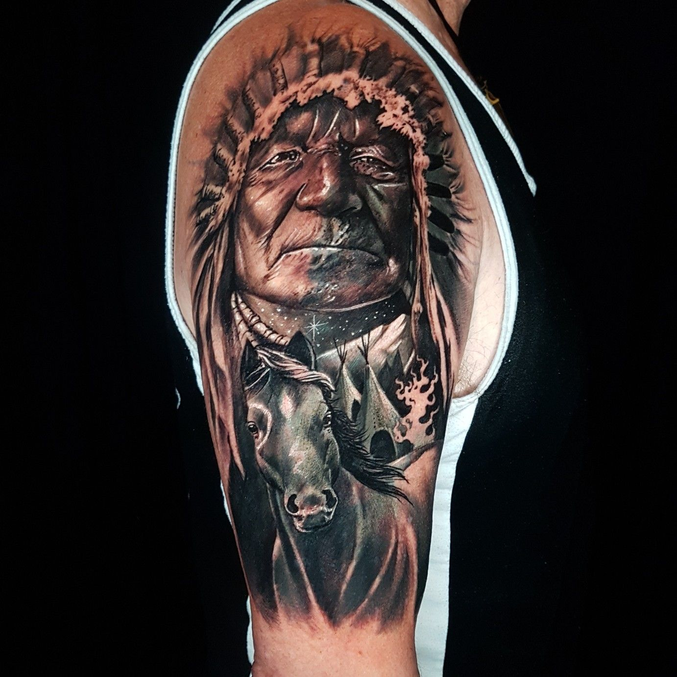 American Indian Chief And War Pony In 2020 Native American Tattoo Designs Indian Tattoo Tattoos