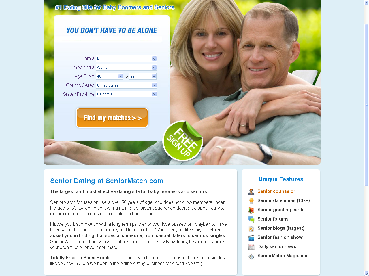 What sites is dating for seniors linked with