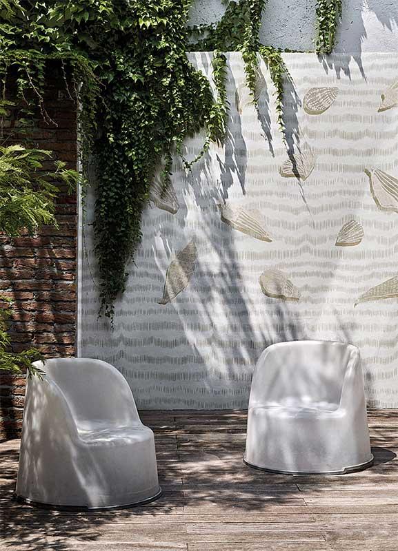 Papier peint pour mur extérieur, papier peint étanche douche, papier peint décoratif façade ...