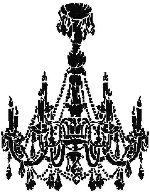 Chandelier silhouette 2 cross stitch pattern by averlypatterns chandelier silhouette 2 cross stitch pattern by averlypatterns mozeypictures Images
