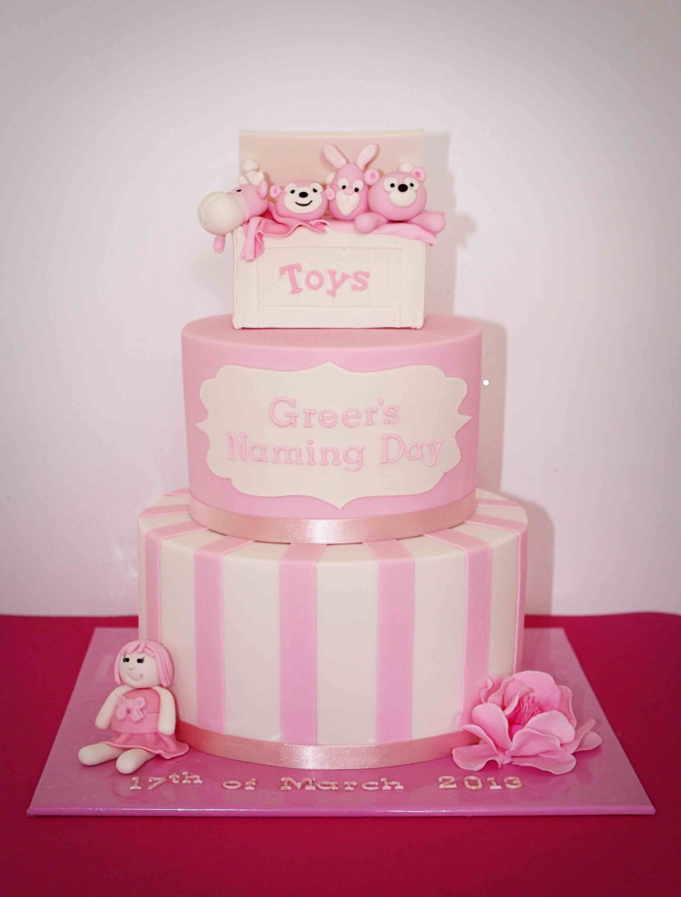 2 Tier Vanilla Cake Filled With Bean SMBC And RKT Toy Box Topper Based On An Original Design By Custom Designs