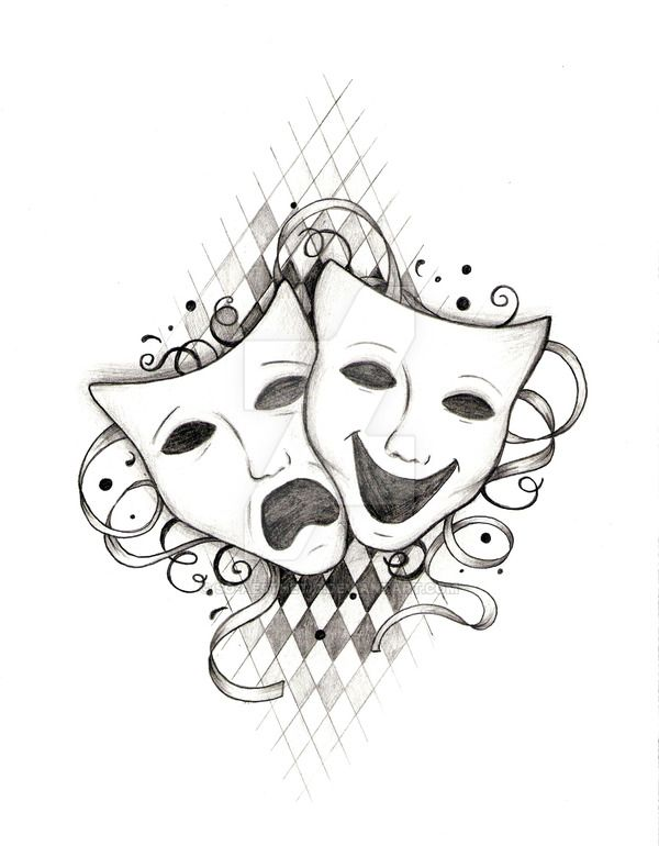 Drama Masks Tattoo Design I Did For Someone Who Requested For One