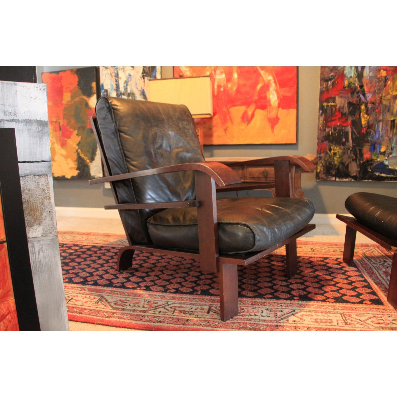 B b italia art deco leather chair ottoman a pair