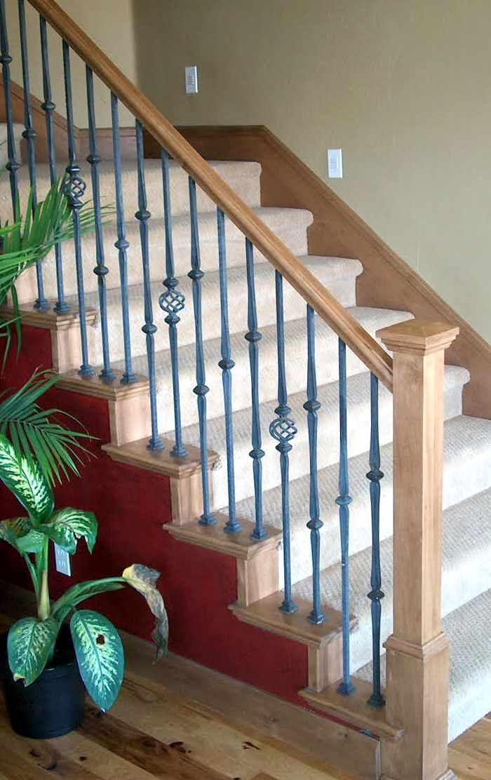 Wood Railing With Wrought Iron Balusters   Traditional   Staircase   Salt  Lake City   Titan Stairs, Utah!