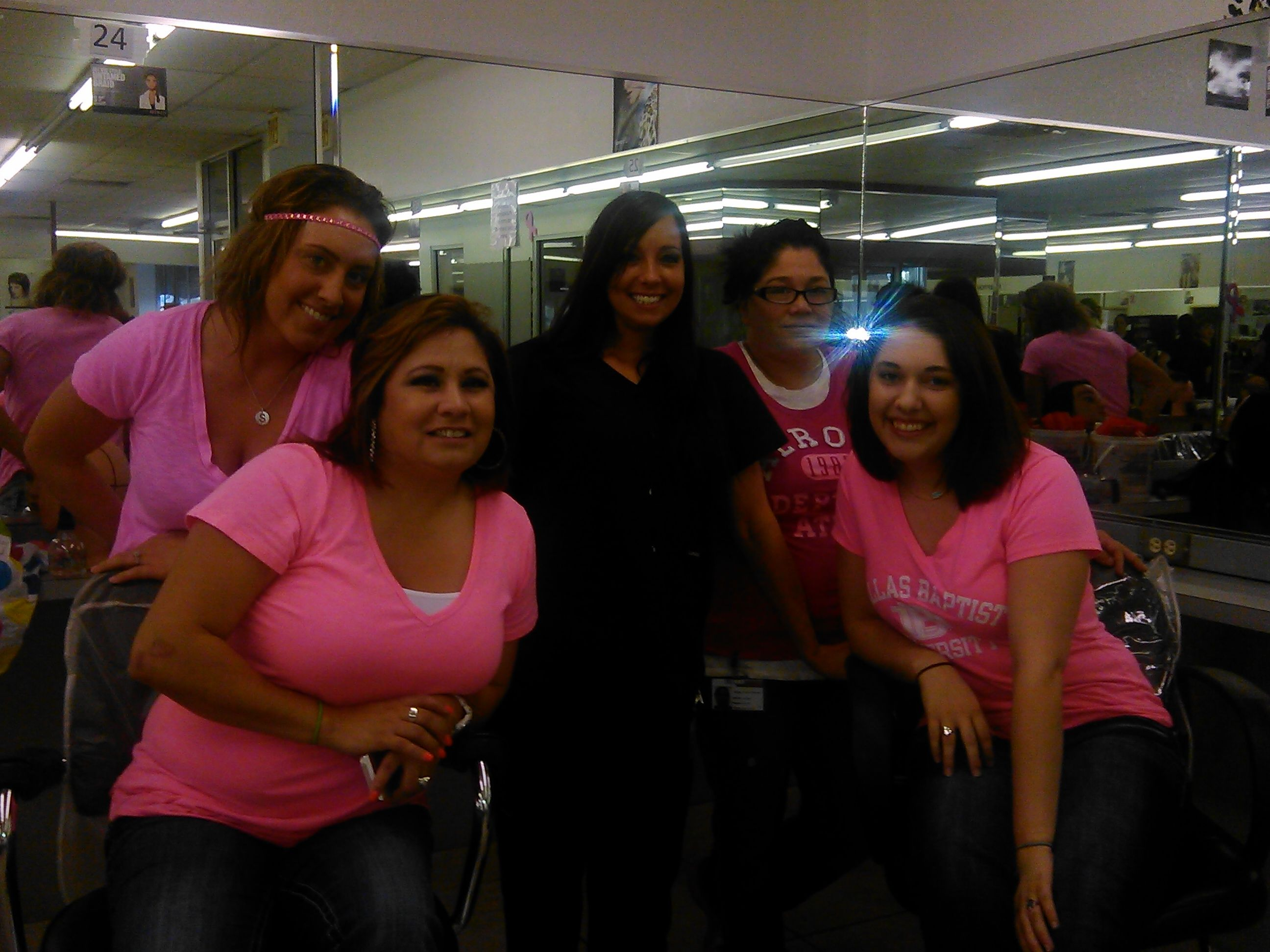 Pink Out Waco Beauty School Students Dressed All In Pink To Support