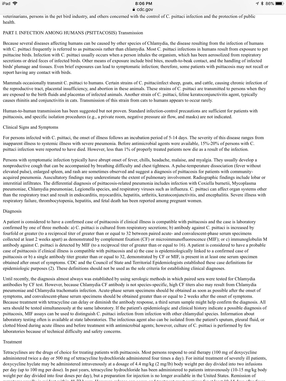 Psittacosis zoonosis Vet tech, Screenshots