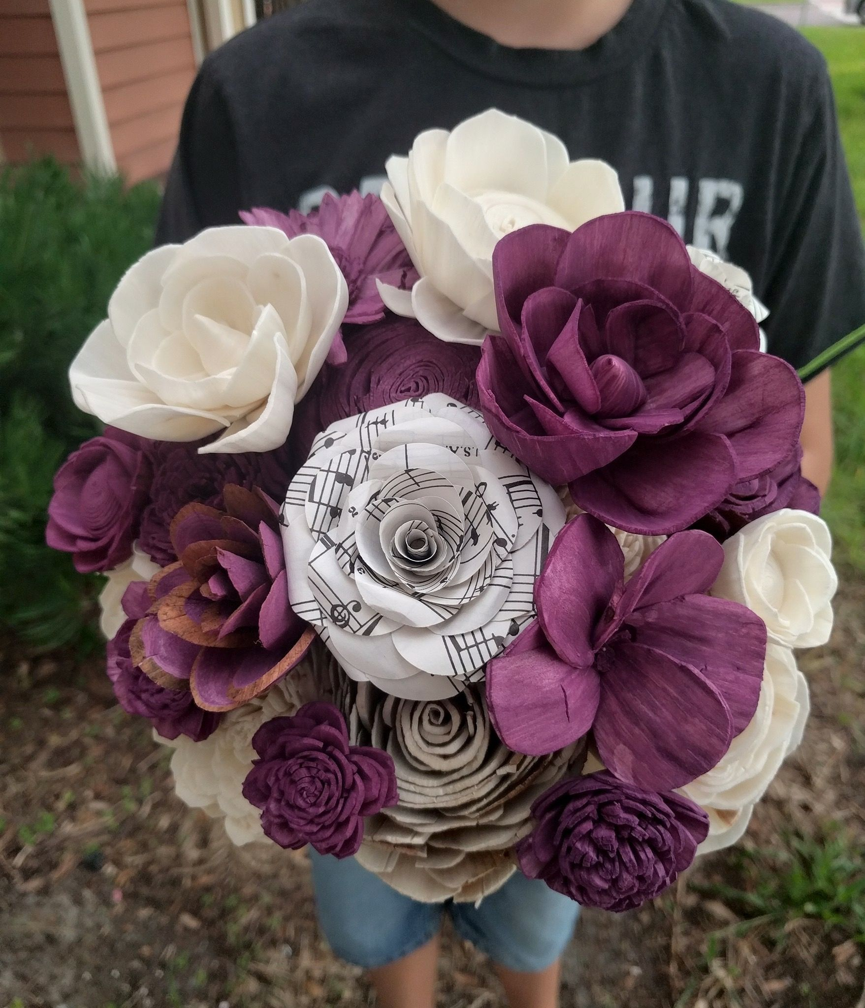 Music Note Paper Flower In A Bouquet Sheetmusic Purpleflowers