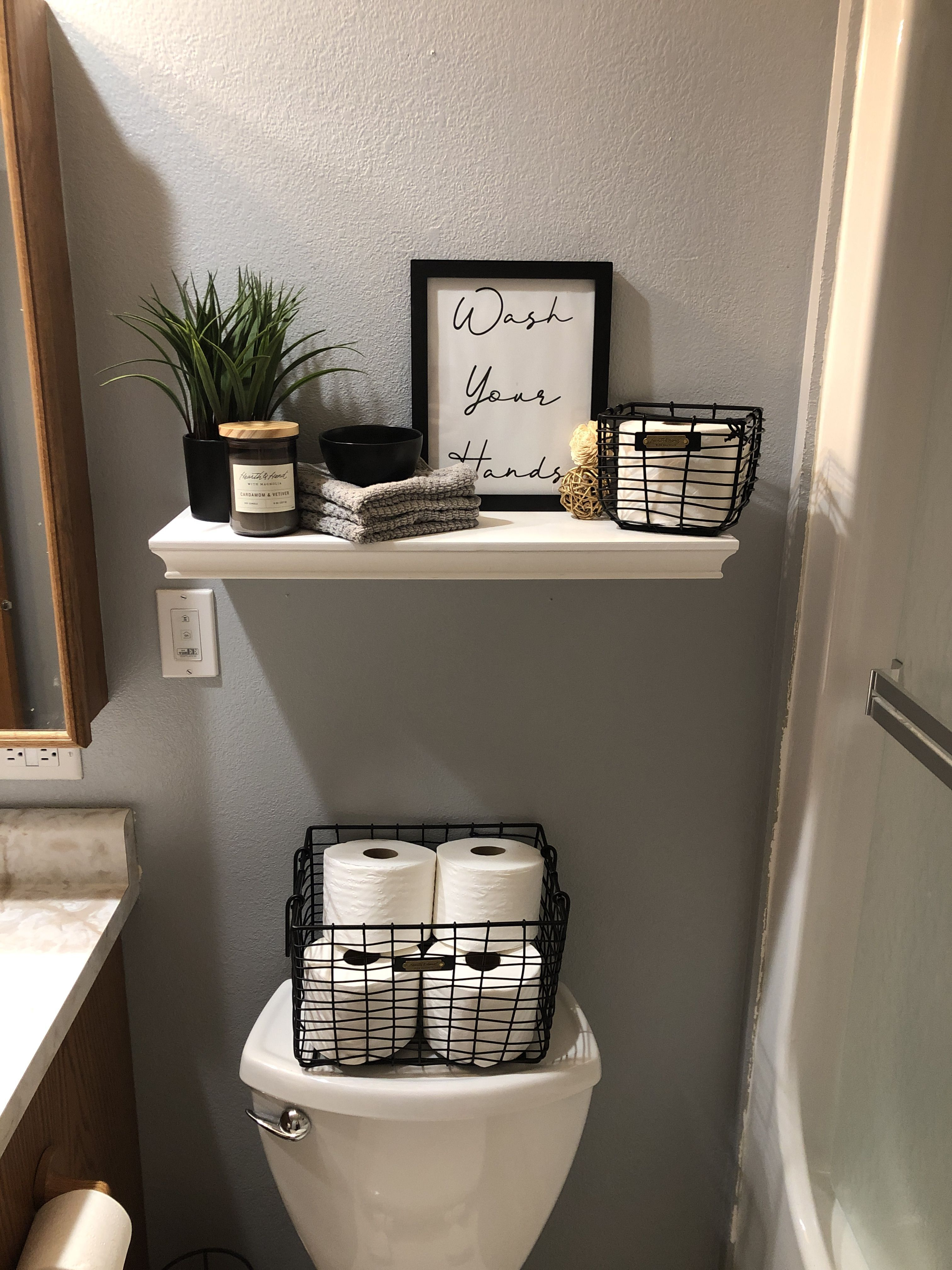All Decor Including Shelf Baskets Frame Plant Wash Clothes Candle And Dish Came From Target With Gold Bathroom Decor Bathroom Decor Half Bathroom Decor Bathroom decor at target