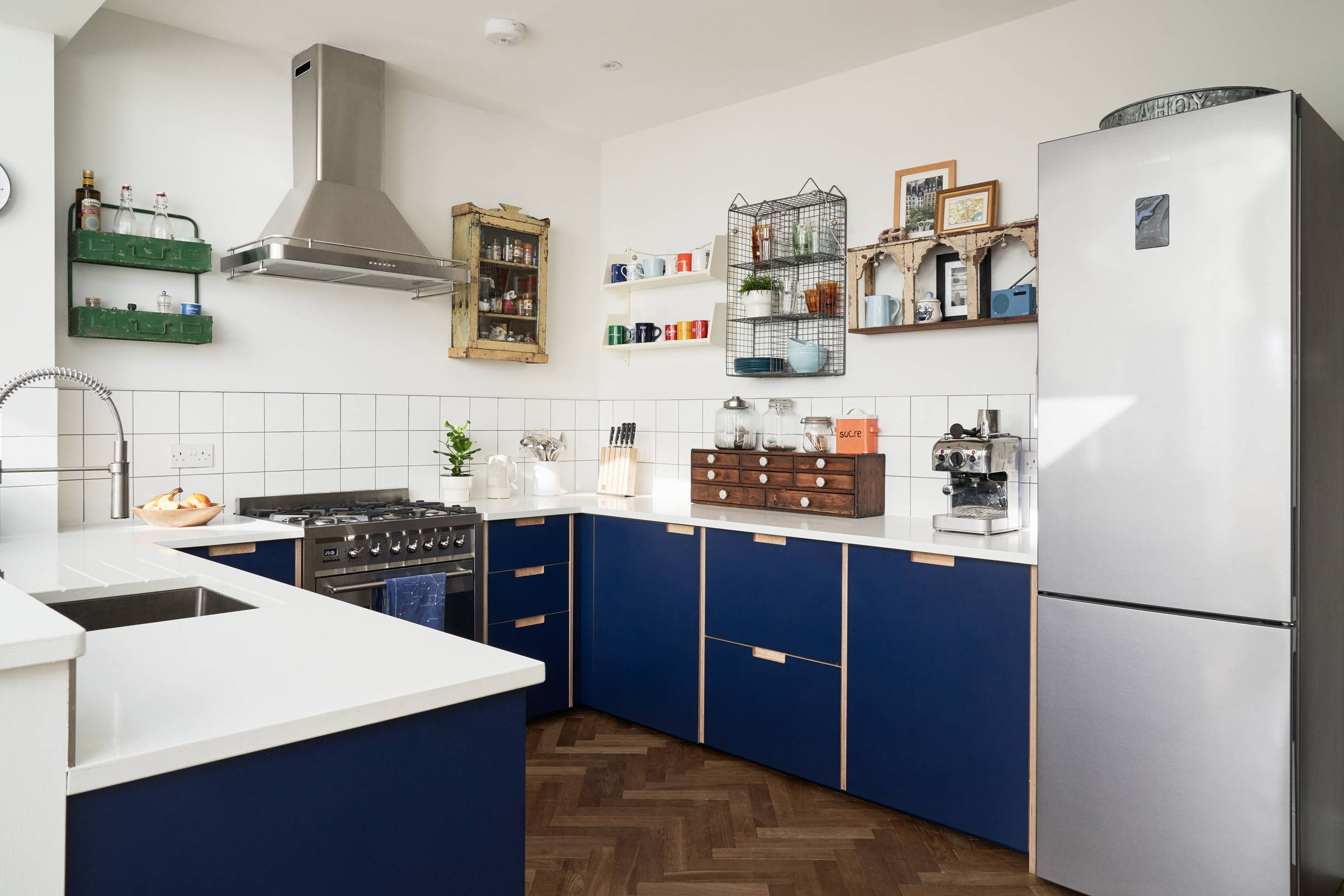 Formica Faced Plywood Kitchen In Navy Blue By Plykea Kitchen Design Small Plywood Kitchen Small Kitchen Diner