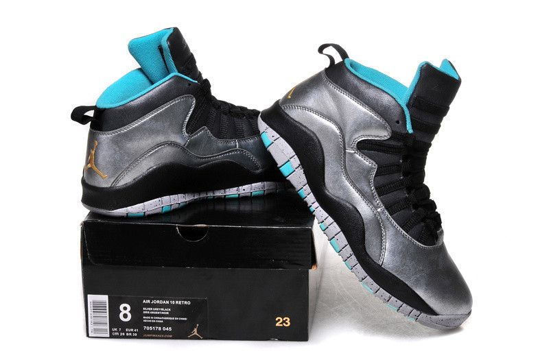 3adb2dbfa98 Custom Mens Nike Air Jordan Retro 10 Silver, Black, light blue ...