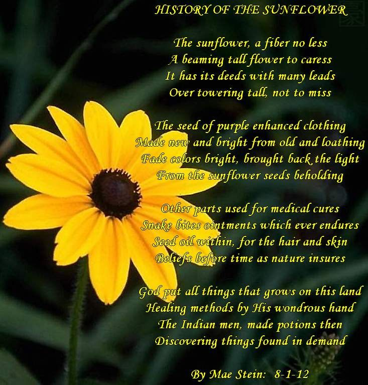 Spring Flower Poems Quotes: HISTORY OF THE SUNFLOWER - Nature Poems