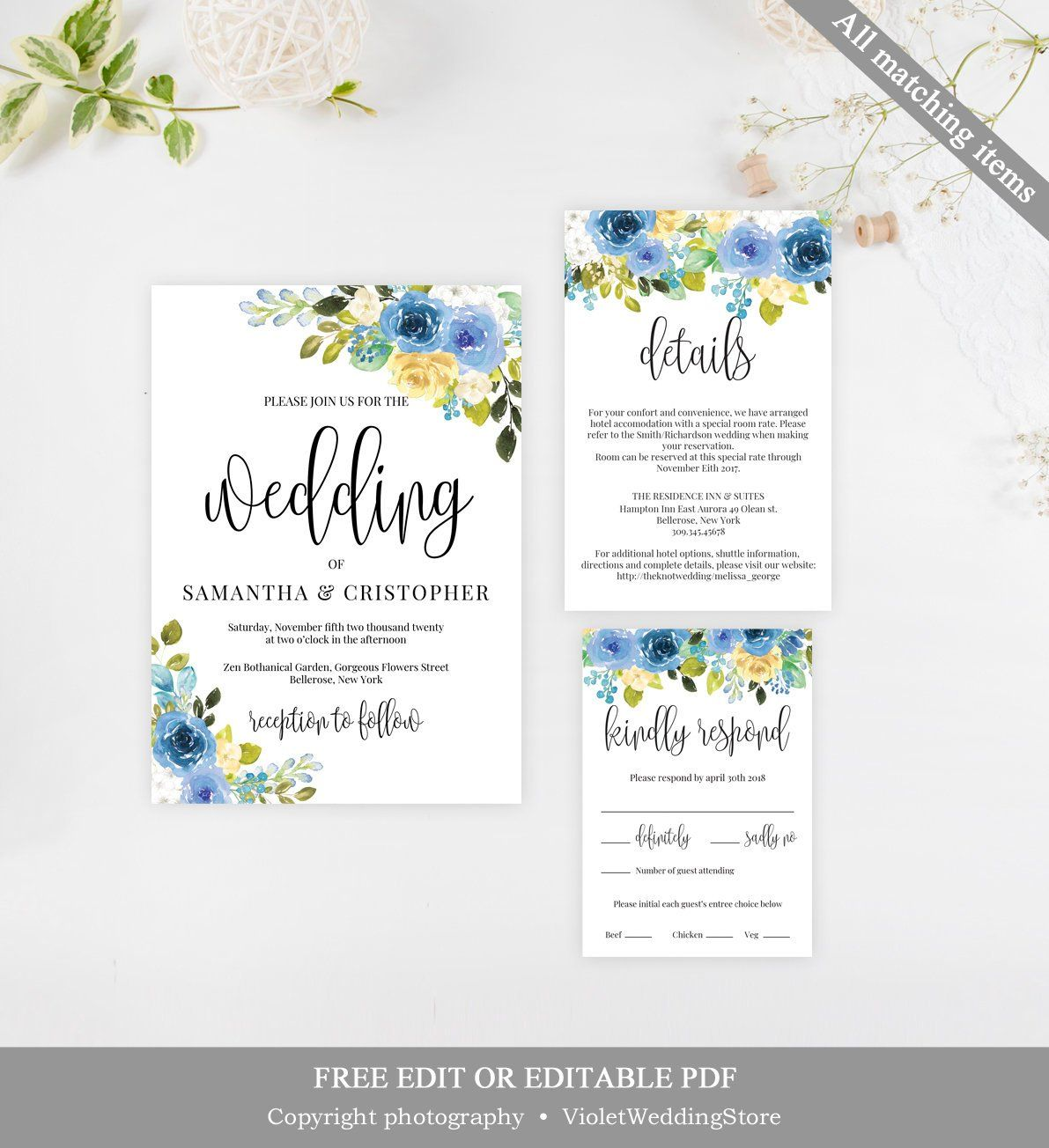 Blue Flowers Wedding Invitation Set Template Printable Blue Roses Wedding Invitation F Yellow Wedding Invitations Wedding Invitations Beach Wedding Invitations