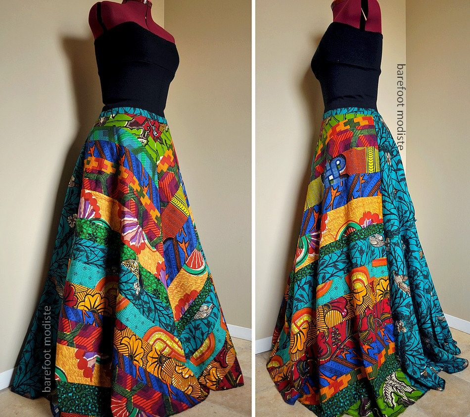 Carefree Muse - Long, Bright African Patchwork Skirt, Ooak Ethnic ...