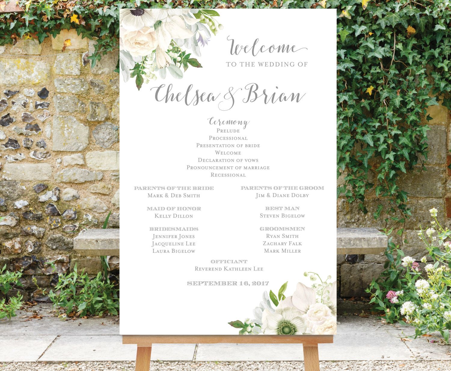 Wedding Program And Party Sign White Flowers Wedding Program Large Program Sign Printable Large Wedding Program Sign Wedding Welcome Signs Wedding Programs
