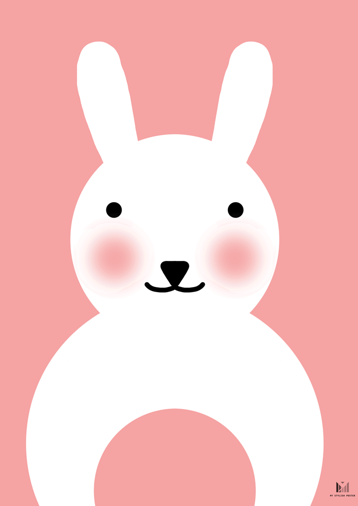 Baby Rabbit Sød Kanin Plakat Til Babyværelset Størrelser A4 A3
