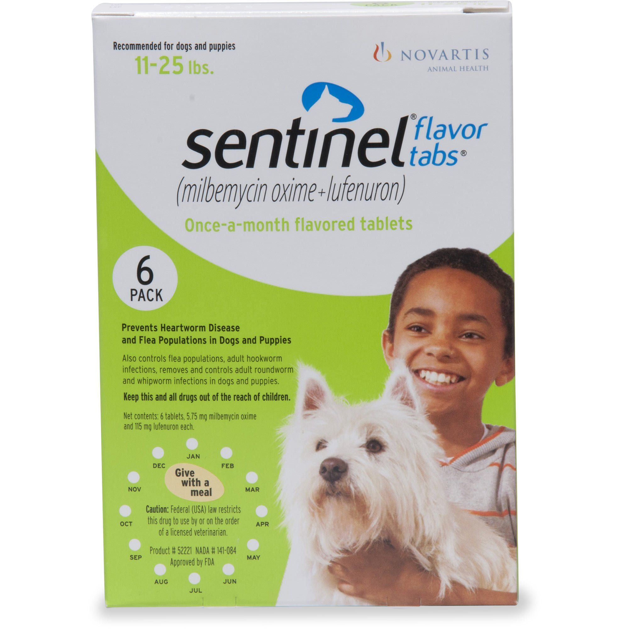 Sentinel Flavor Tablets for Dogs 11 to 25 lbs., 12 Pack