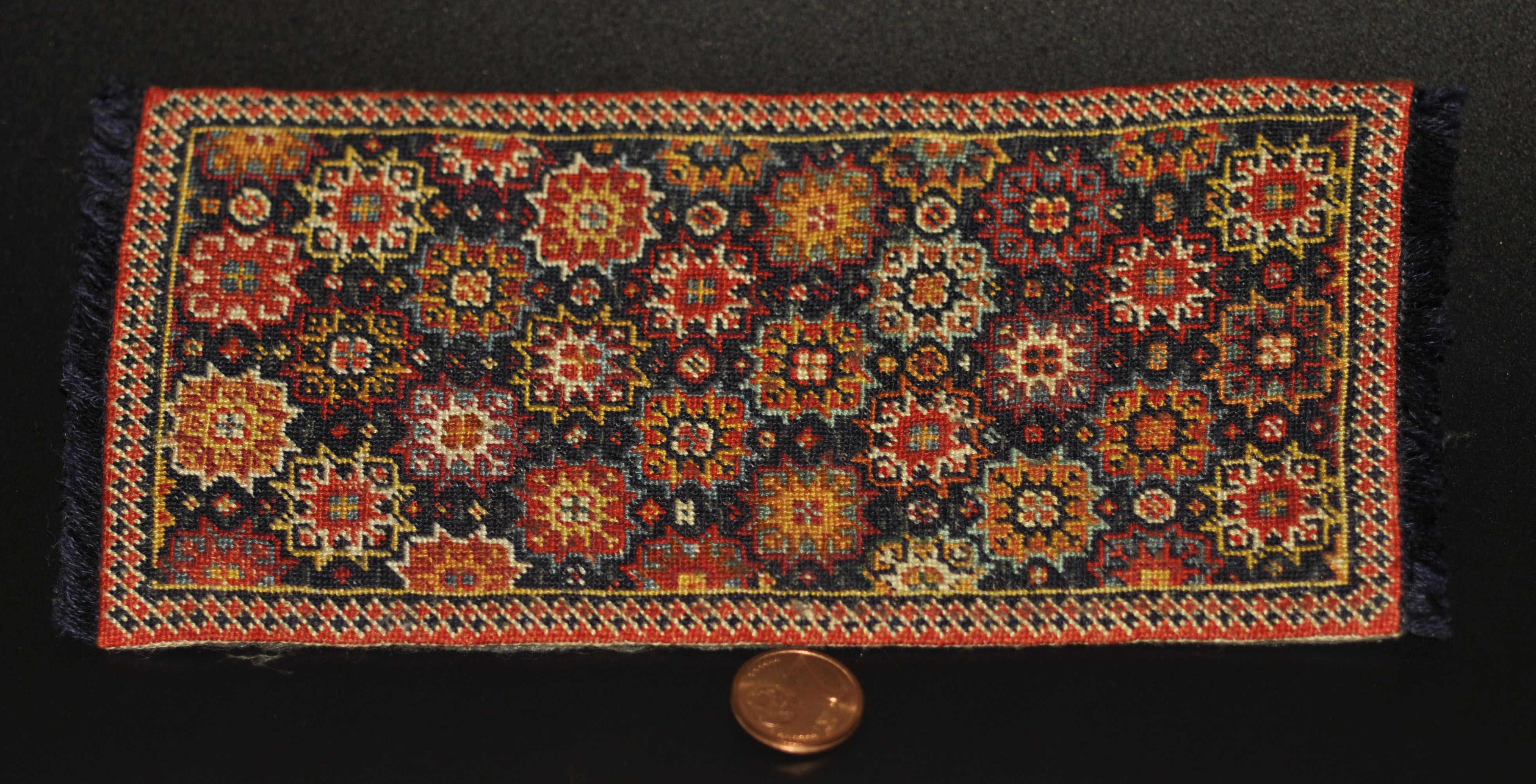 Miniature Carpet Embroidered Small Point On Silk