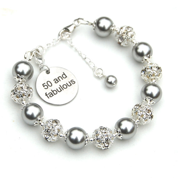 50th Birthday Gift For Her 50 And Fabulous Charm Bracelet Special