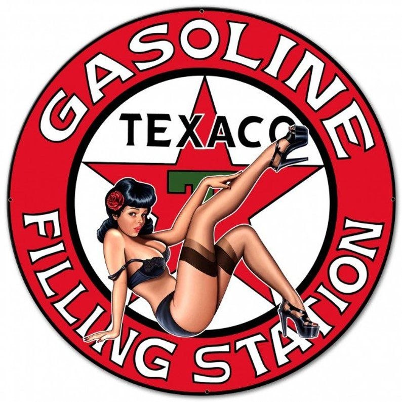 Photo of Texaco Gasoline Station Pinup Girl, Metal Sign, 3 Sizes, USA Made, Auto Car Gas Oil Hot Rod Garage Art Wall Decor SM PS