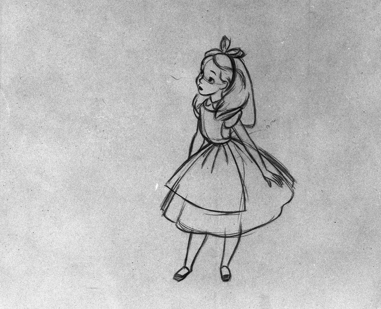 Milt kahl s animation drawings for alice in wonderland for Selbstgemalte wandbilder
