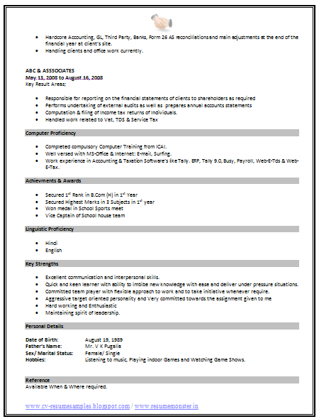 standard format resume page