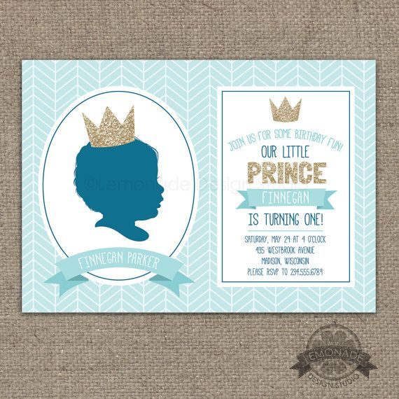 Little Prince Custom Silhouette Invitation Gold glitter crown on a