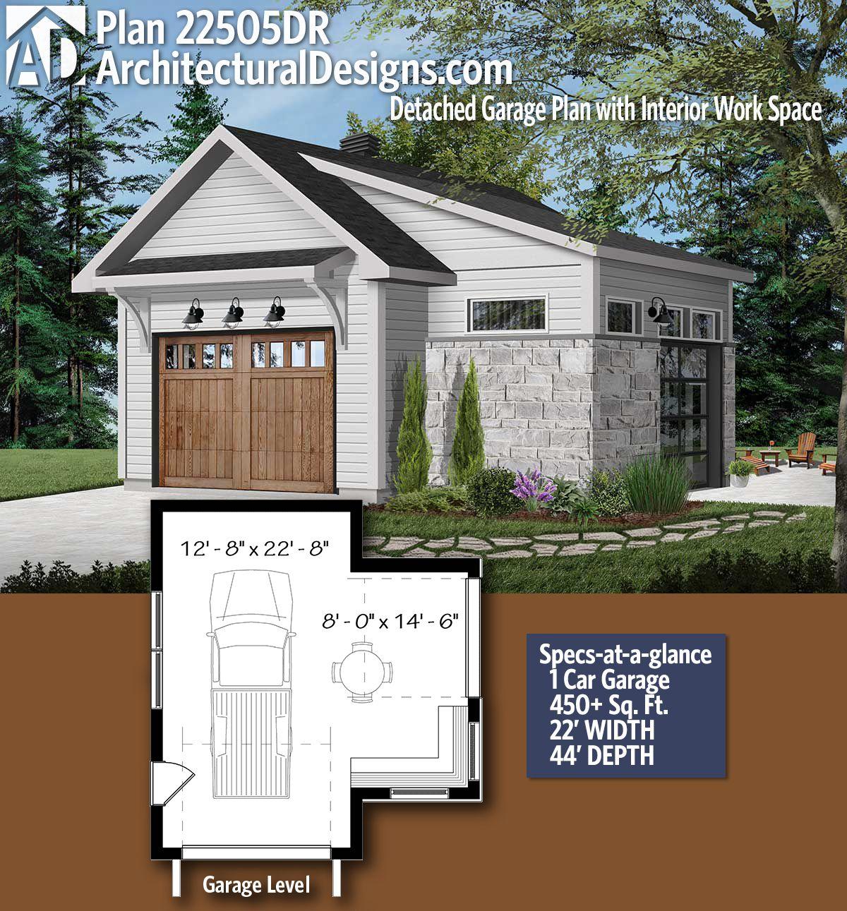 Plan 22505dr Detached Garage Plan With Interior Work Space Garage Plans Detached Detached Garage Designs Detached Garage