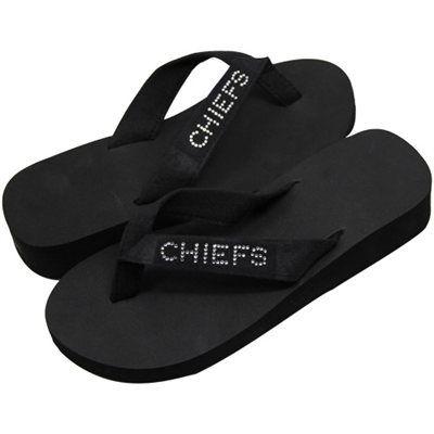7e59ff61b3fb3 Kansas City Chiefs Ladies Bling Wedge Flip Flops - Black