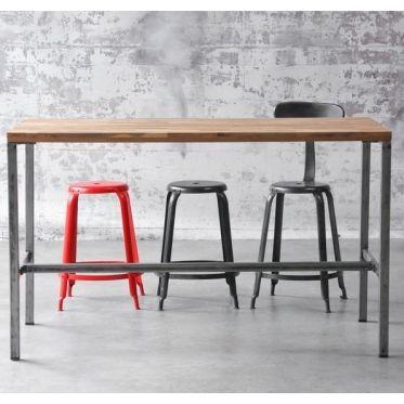 table haute hauteur de bar en bois et acier un style moderne pour se mange debout qui s. Black Bedroom Furniture Sets. Home Design Ideas
