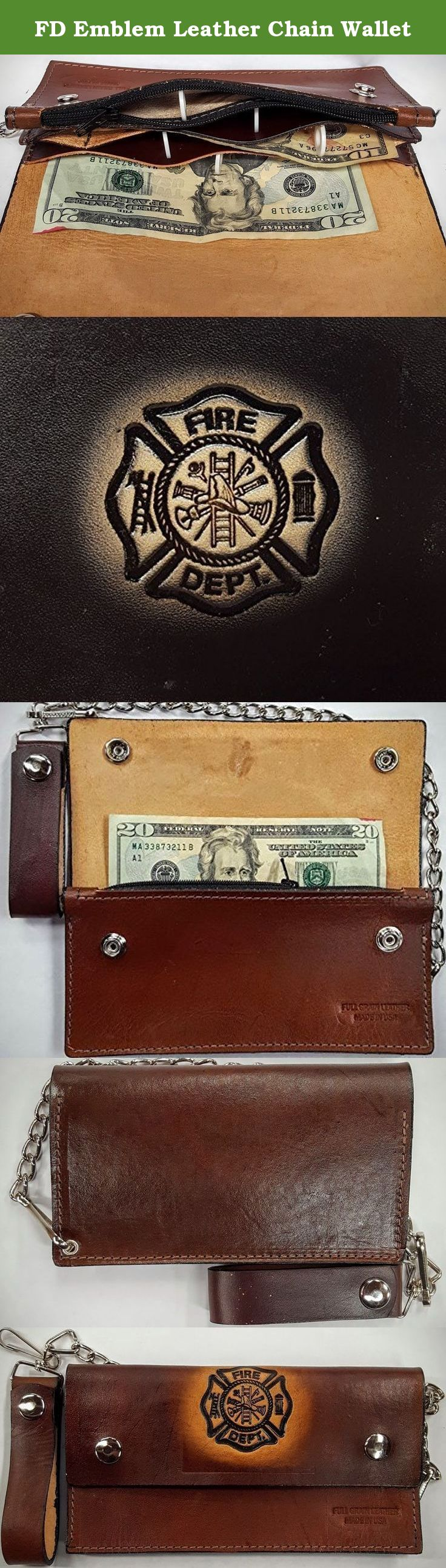 FD Emblem Leather Chain Wallet. These are 100 % Leather Wallets made in the USA. These wallets are available in a variety of Embossed Designs and or you can special order with your initials or name as well. ( No profanity, Please !! ) These wallet are heavy duty and strong and it also comes with a heavy chain. Additional colors can be ordered upon special request. Please Note : Most of the designs can be ordered with matching Cell Phone Case, Leather Buckle and maybe a belt, too. Please...
