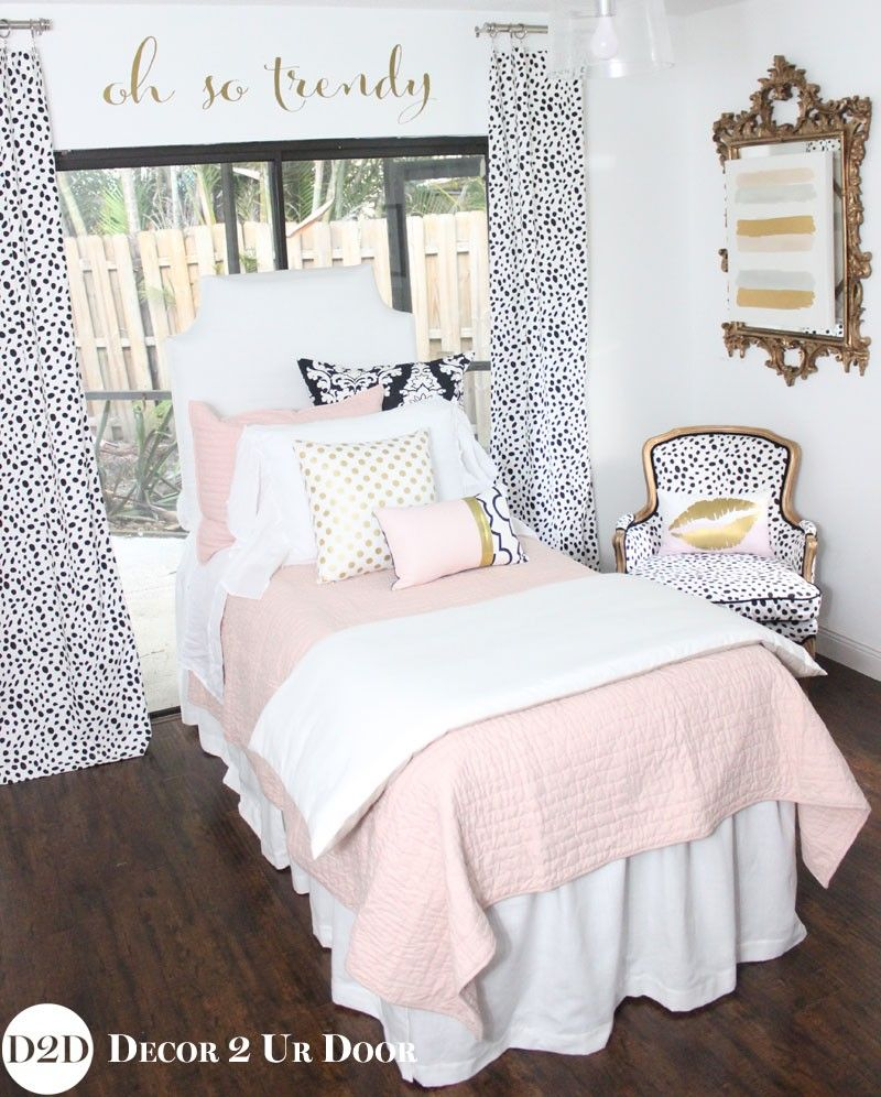 Get Dorm Ready With Neutral Gold And Blush Dorm Room Bedding Blush Pink White A Pop Of Black Desi Designer Dorm Bedding Dorm Bedding Sets Dorm Room Bedding