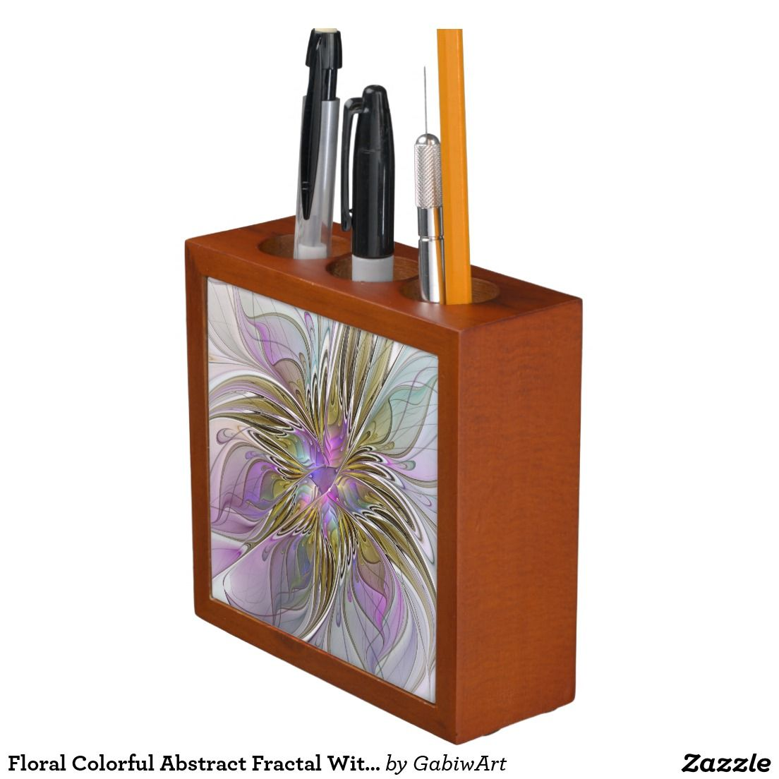 Floral Colorful Abstract Fractal With Pink & Gold Pencil Holder