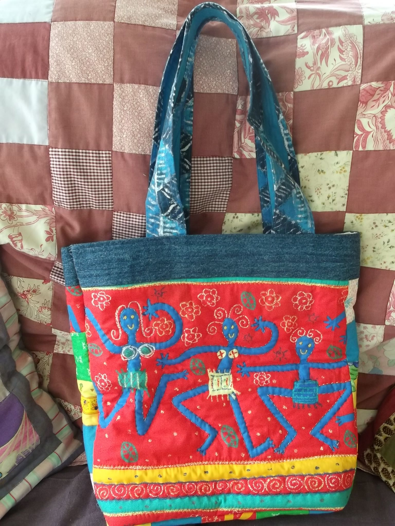 'Crazy Peeps' Tote bag, lined with inside pocket.