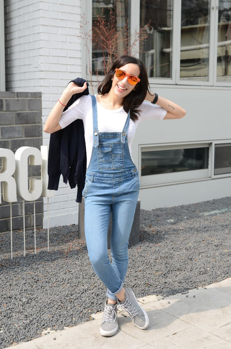 Overalls Denim Look Ootd Lookbook Nu What I Wore Reflective Sunnies Mirror Sunglasses Oakley Red -2282