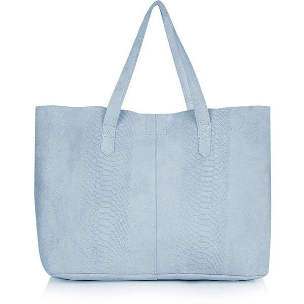 Top Snake Effect Suede Per 45 Cad Liked On Polyvore Featuring Bags Handbags Tote Light Blue