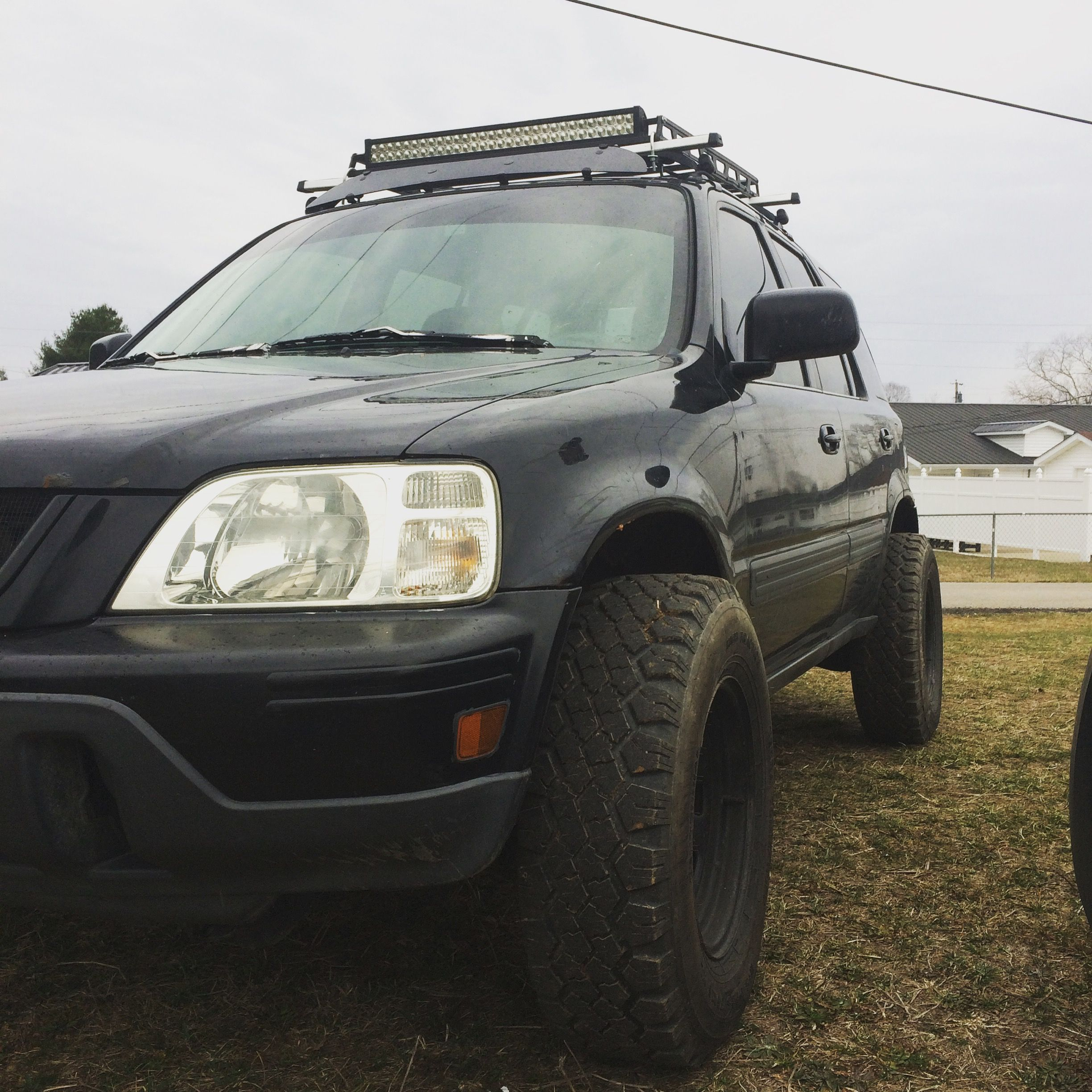 1998 Honda Crv With A Two Inch Lift And One Inch Wheel Spacers Roof Rack And Two Light Bars Honda Crv Honda Cr Honda