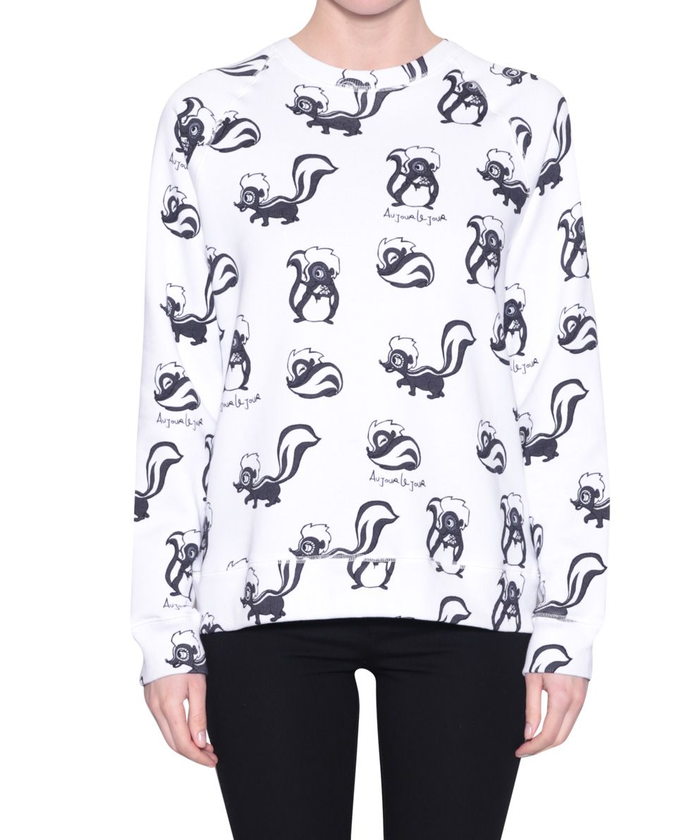 au jour le jour cotton sweatshirt with all over skunk print