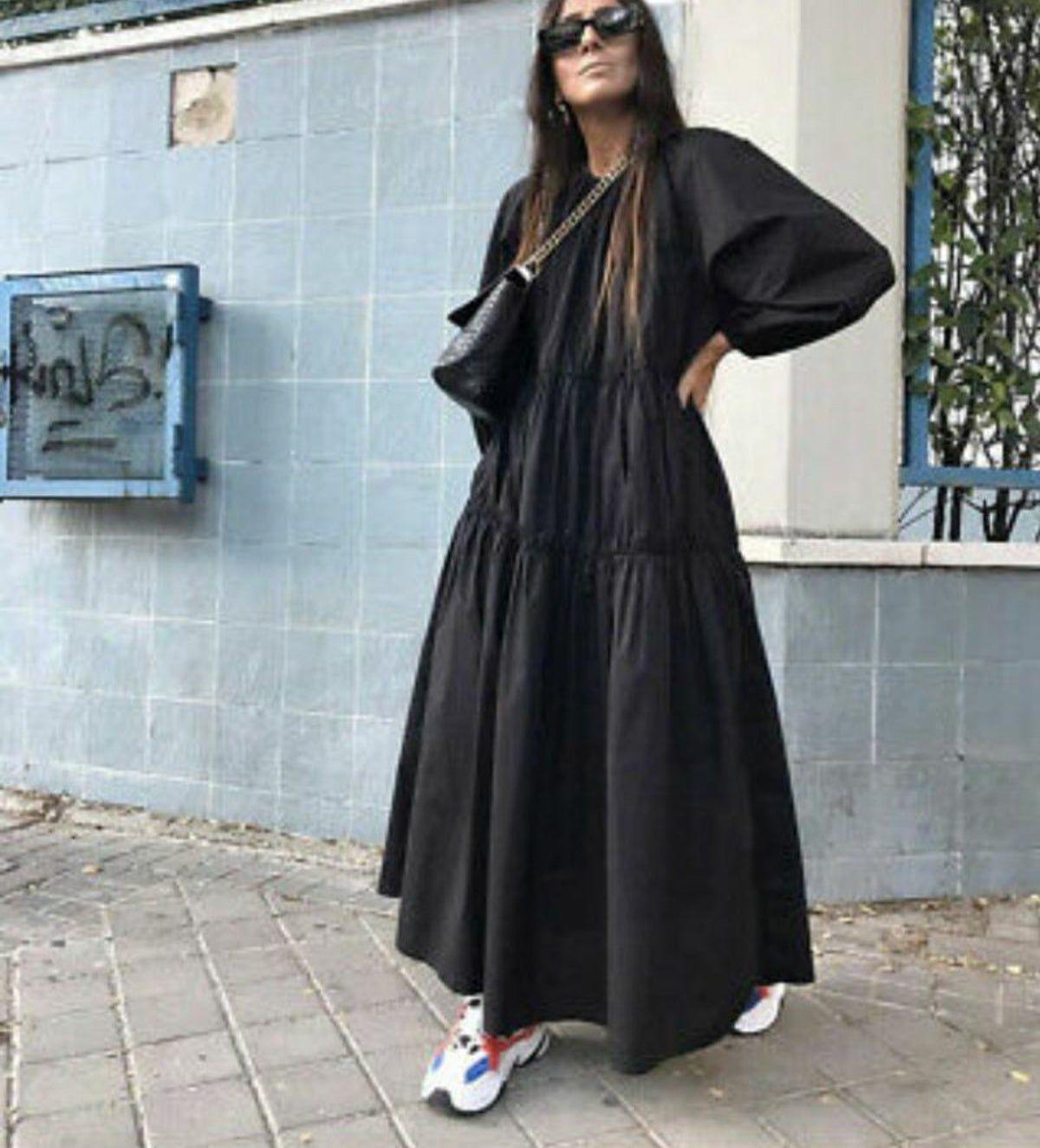 zara black poplin dress online